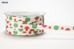 White,Red and Green Grosgrain Bubble Dot Ribbon