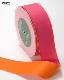 Fuchsia and Orange Grosgrain Reversible Ribbon