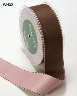 Brown and Pink Grosgrain Reversible Ribbon