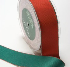 Red and Green Grosgrain Reversible Ribbon