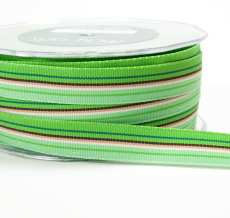 Green,Light Green and Brown Grosgrain Variegated Stripes Ribbon