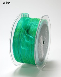 Turquoise and Green Sheer Iridescent Pinstripe Ribbon
