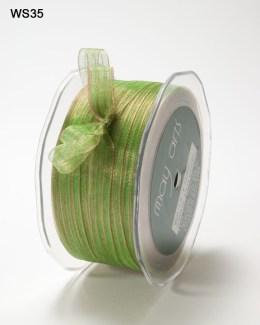 Pink and Green Sheer Iridescent Pinstripe Ribbon