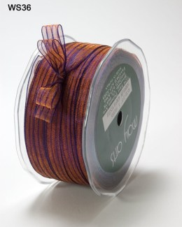 Copper and Purple Sheer Iridescent Pinstripe Ribbon