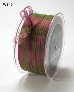 Fuchsia and Green Sheer Iridescent Pinstripe Ribbon