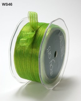 Parrot Green and Yellow Sheer Iridescent Pinstripe Ribbon