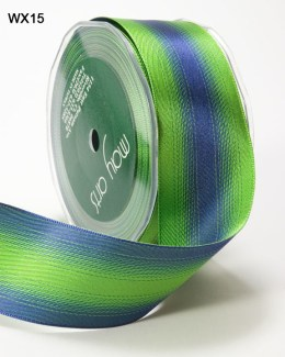 Blue and Green Satin Reversible Wired Ribbon
