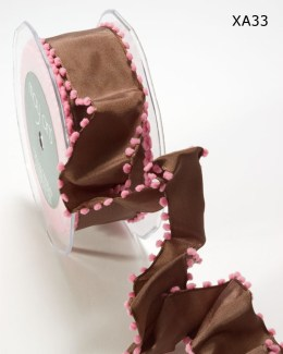 Brown and Pink Solid / Pom Pom Edge (Wired) Ribbon