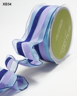 Ligt Blue,Navy and Lavender Sheer Stripes (Wired) Ribbon