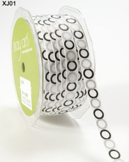 White,Black and Silver Grosgrain Circles Ribbon