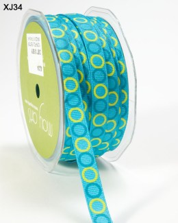 TURQUOISE and PARROT GREEN Grosgrain Circles Ribbon