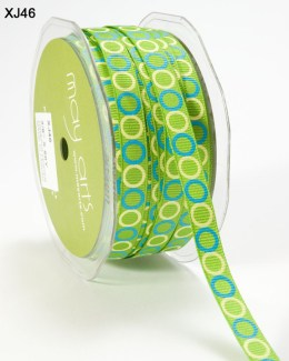 PARROT GREEN,TURQUOISE and CREAM Grosgrain Circles Ribbon