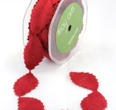 Red Faux Suede Leaves Ribbon