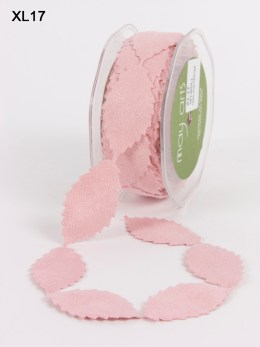 Pink Faux Suede Leaves Ribbon