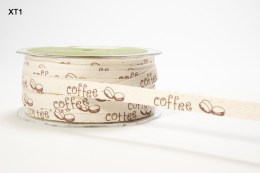 Brown Coffee Beans Ivory Twill / Print Ribbon