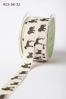 Dog Silhouette Cotton Ivory Canvas with Fun Print Ribbon