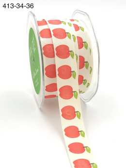 teacher apple print 100% cotton ribbon