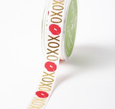 Red,Gold and White XOXO Kiss Grosgrain Ribbon