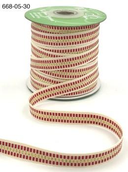 candy cane stripe metallic gold cotton ribbon