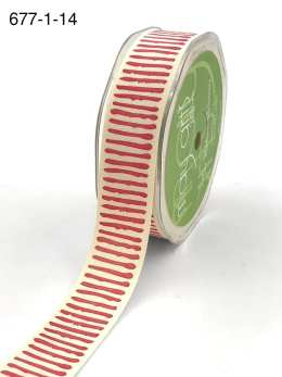 red paint stripe cotton ribbon
