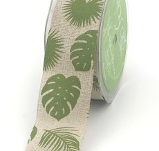 natural kraft tropical leaf banana leaf linen ribbon