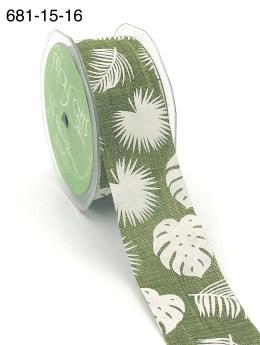 olive green tropical leaf banana leaf linen ribbon