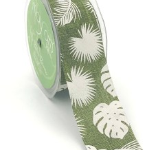 olive green tropical leaf banana leaf linen ribbon