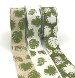 "1.5"" tropical leaf banana leaf linen ribbons"