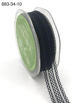 black batiste elastic lace ribbon