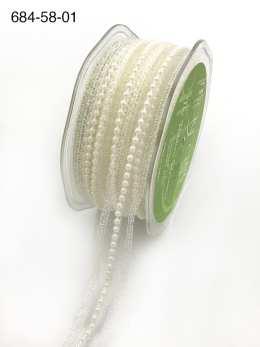 white pearl lace metallic ribbon