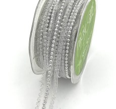 silver pearl lace metallic ribbon