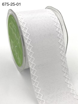 white linen stitched white diamond wide ribbon