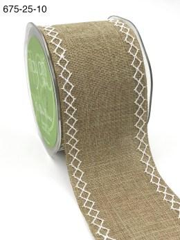 natural kraft linen stitched white diamond wide ribbon
