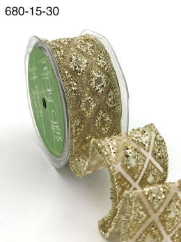 gold diamond glitter organza wired ribbon