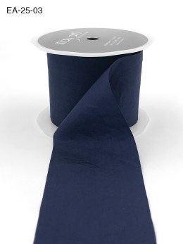 navy blue faux silk wrinkled nylon ribbon