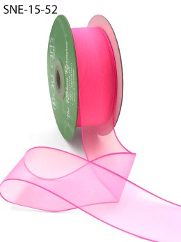 neon fuchsia thin edge organza ribbon