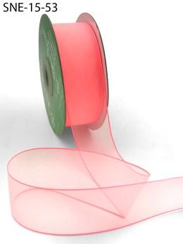 neon coral thin edge organza ribbon