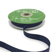 navy and silver glitter sparkle woven ribbon
