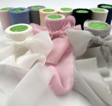 "1.25"" Frayed Edge Silk Chiffon Ribbons"