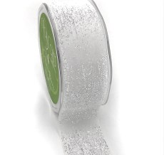 iridescent white glitter velvet ribbon