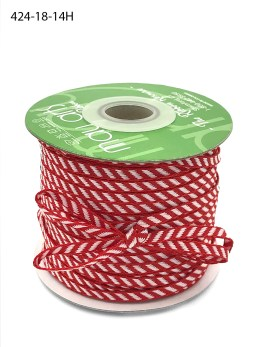 red and white diagonal stripe woven ribbon