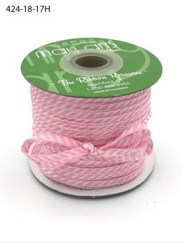 light pink and white diagonal stripe woven ribbon