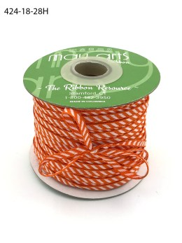 orange and white woven diagonal stripe ribbon