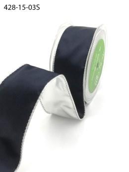 navy and silver metallic reversible satin ribbon