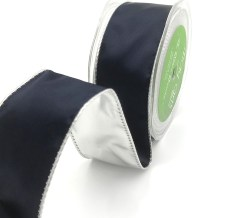 navy and silver metallic reversible satin ribbon