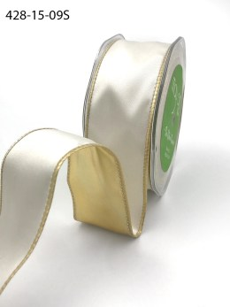 ivory and metallic gold reversible satin wired ribbon