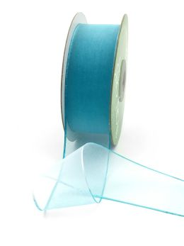 tie dye blue teal light blue thin edge organza ribbon