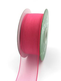 fuchsia pink thin edge organza ribbon