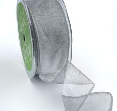 silver organza wired ribbon