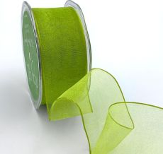 parrot green organza wired ribbon